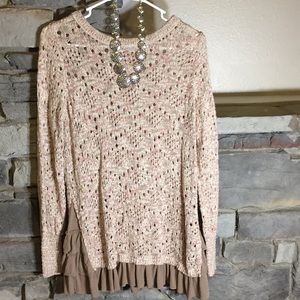 Med Knox Rose Tan and Pink Sweater